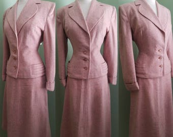 Darling and Divine Early 1950's  Pink Tweed Suit *RARE COLOR - 30w