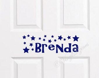 Kids Door Sign, Kids Door Decal, Name Door Decal, Name Sticker, Star Kids Name Decal, Bedroom Door Sticker WD-1302