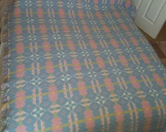 Vintage 60s -70s Welsh Wool Tapestry Blanket or Throw - Reversible LARGE  Made in Wales by BRYNKIR 1.7mt x 2.25 mt