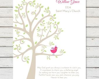 BAPTISM TREE PRINT, Baby Girl Baptism Gift, Personalized Baptism Art Print, Christening Gift, Goddaughter Gift, Baby Girl Christening