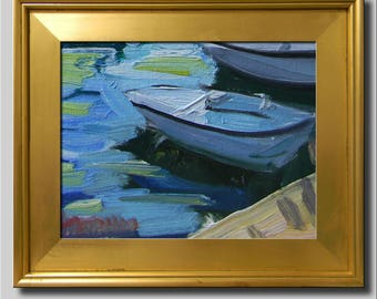 Plein Air Landscape Painting, Impressionist Oil, Seascape, Water Painting, Row Boat Painting, Abstract Blue Green Painting