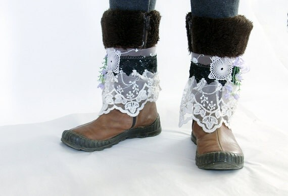Boho unique crazy boot covers/boot wraps/boot cuffs/Crazy boot decoration/boot spats/wedding boot cuffs