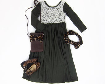 Girls Olive Green Long Sleeve Maxi Dress with Lace, Girls Dresses, Maxi Dress, Dresses Sizes 3/4, 4/5, 6/6X, 7/8, 10/12 - Ready to Ship
