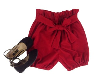 Girls Red Bloomer Shorts, Girls Red Shorts, Toddler Bloomer Shorts, Red Bubble Shorts, Shorts Sizes 18/24m, 2T/3T, 4/5, 6/6X Ready to Ship