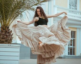 Boho skirt, gypsy dance skirt, tribal skirt, flamenco skirt, 25 yards skirt 'Cocoa'