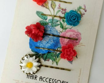 Hair Accessory | pack of slides | Bronze grip | Resin flowers | Roses floral cluster  | Blue | Red | White | MadeByMack | Made in Uk