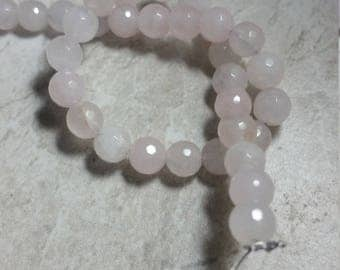 6mm faceted rose quartz beads