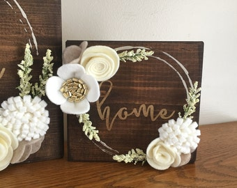 Home Felt Flower Wreath Sign - mini