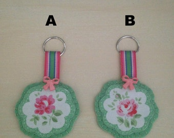 flower keyring, flower bagcharm,  keyring, bagcharm, stocking filler, made with Cath Kidston provence rose fabric