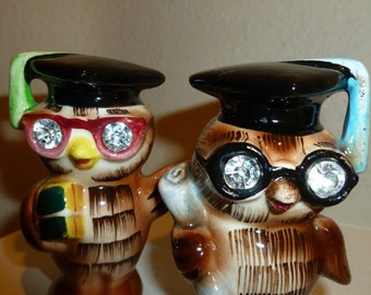 Vintage Wise Owl Salt And Pepper Shakers From The 1960's