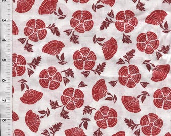 "Cranston ""Colorworks"" Spaced Floral Red Fabric"