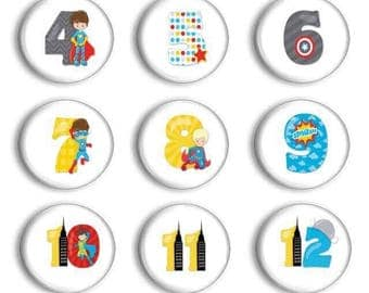 Superhero numbers 1 - 30 - Number Magnets - Student Numbers - Preschool Learning - Number Practice - Early Math - Teacher Gift - Educational