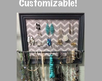 Custom framed jewelry organizer / jewelry holder
