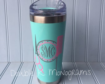 Personalized Hair Dresser Decal / 26 oz Coffee Tumbler Aqua