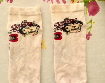 Ankle socks, short socks, light pink color, Betty Boop, new, never used.