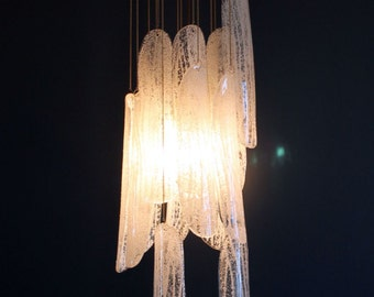 Spectacular cascading chandelier in Murano glass attributed to Mazzega - vintage 70s.