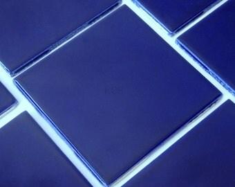 Surplus Ceramic Glazed Tile - Royal Blue- Set of Four