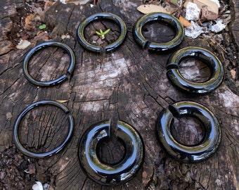 """Pair Black Obsidian Stone Lightweight Hoop Dangling Ear Weights Gauges Hangers 5mm (4G) 6mm (2G) 8mm (0G) 10mm (00G) 12mm (1/2"""") 16mm (5/8"""")"""