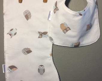 Owl Baby Bib, Burp Cloth Set