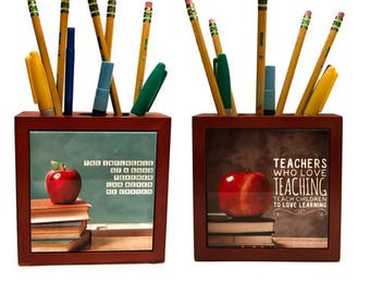 Double Sided Wooden Pencil Box / Back to School Gift for Teachers / Positive Teachers Quote / Favorite Teacher Gift