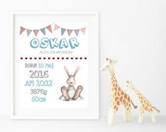 Personalized Nursery Art Print, Birth Print Wall Art, Custom Nursery, Printable Decor, Playroom Decor, Printable Art, Instant Download
