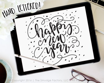 Happy New Year SVG Confetti Cut File, 2017, New Year's Eve, Silhouette Cricut Cutting File, Hand Lettered Download, Graphic Overlay