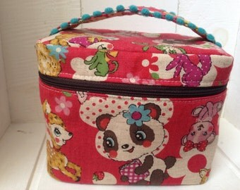 Vanity pouch/Box pouch: red, animals with pom pom
