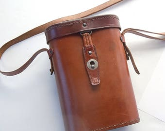 Leather Bag / Beautiful vintage leather stitched with rounded sides / From a pair of Hensoldt Wetzlar Binoculars