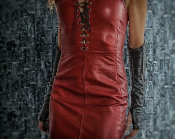 Red Leather Lace-Up Dress