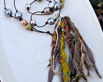 Silk Tassel Necklace, Coachella Necklace, Sari Silk Ribbon, Hand Knotted Leather, Bohemian Jewelry, Festival Jewelry, Statement Necklace