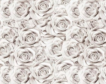 White Roses Fabric