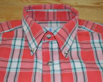 Red Green and White Check Shirt by Traveller Size Large