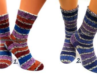 Blue Purple Brown Hand Knit Socks Warm Socks Winter Socks Blue Purple Striped Socks Athletic Socks Wool Socks Colorful Socks Gift idea 2017