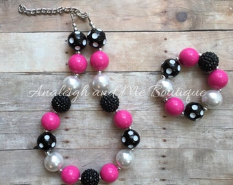 Pink and Black Chunky Necklace, Pink and Black Necklace, Toddler Pink and Black Chunky Necklace, Pink Black and White Chunky Necklace
