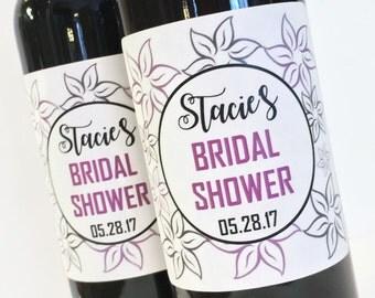 Custom Mini Wine Labels for Bridal Shower Favor or Bachelorette Favor, Modern Flowers Wedding Mini Wine or Champagne Labels