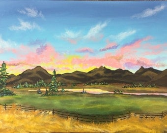 """Montana Sunset Original 18"""" X 24"""" Acrylic Painting on stretched canvas."""