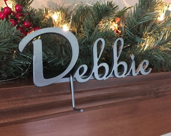Stocking Holder Personalized Metal Stocking Hanger Short Name