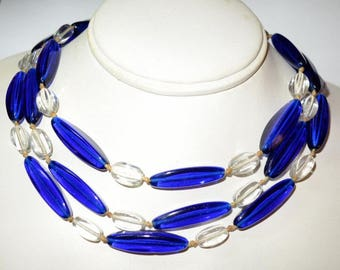 Vintage Art Deco Cobalt Blue Glass & Clear Quartz Crystal Beaded Necklace