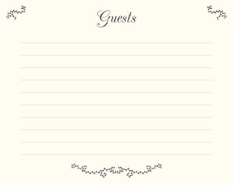 visitors book template free download - fils a linge etsy