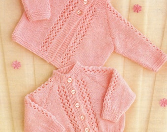 "Baby Knitting Pattern QK or 4 ply Matinee Coat & Cardigan 16-22"" pdf"