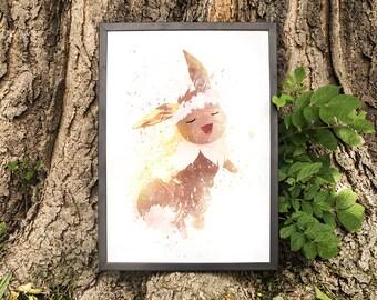 Eevee, Dancing with flower crown, Pokemon Fan Art, watercolor illustration, giclee art print, silhouette, wall decor