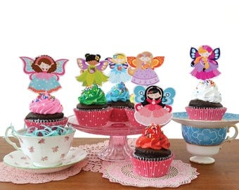 Fairy Cupcake Toppers / Fairy Names & Sign / Fairy Tea party / Printable, Instant Download, DIY cupcake toppers