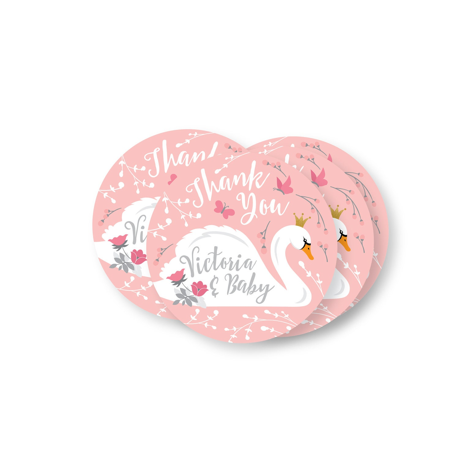 Swan Baby Girl Shower Thank You Tag Thank You Hang Tags DIY