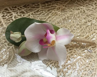 Tropical Wedding Boutineers - Single Orchid