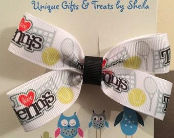 I Love Tennis hair Bow