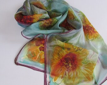 Hand painted 100% real silk scarf  17 х 59 inc. Батик шарф 42 х 150 см