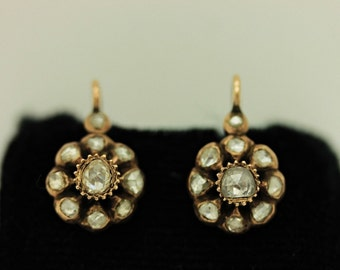 Perfect antique 8k gold  ottoman rose dizayn  diamond decorated for lady double earring