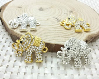 Rhinestone Elephant Connectors   Elephant Pendant, Elephant Necklace , Wholesale Charms
