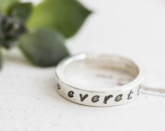 Ring With Kids Name, Silver Name Ring For Mom, Personalized Ring For Women, Sterling Silver Rings Women, Mothers Ring, Stackable Name Rings