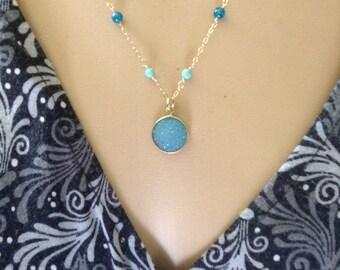 Aqua Druzy and Gemstone Necklace